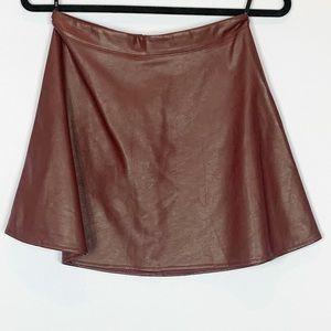Iris Red Brown Circle Vegan Leather Skirt